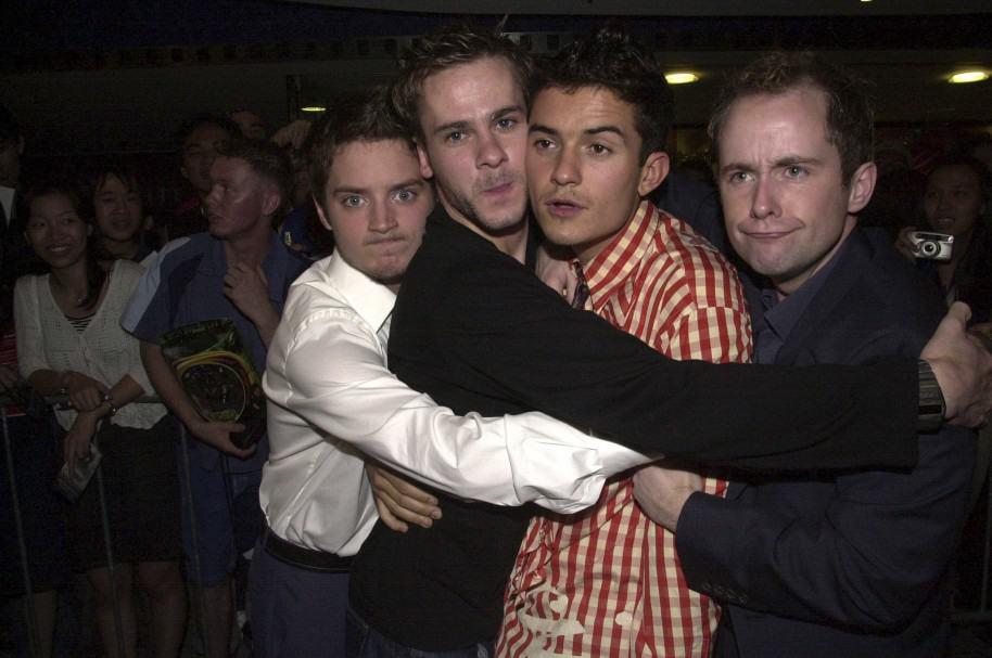 Elijah Wood, Dominic Monaghan, Orlando Bloom y Billy Boyd en uno de los estrenos de 'El señor de los anillos' en 2001