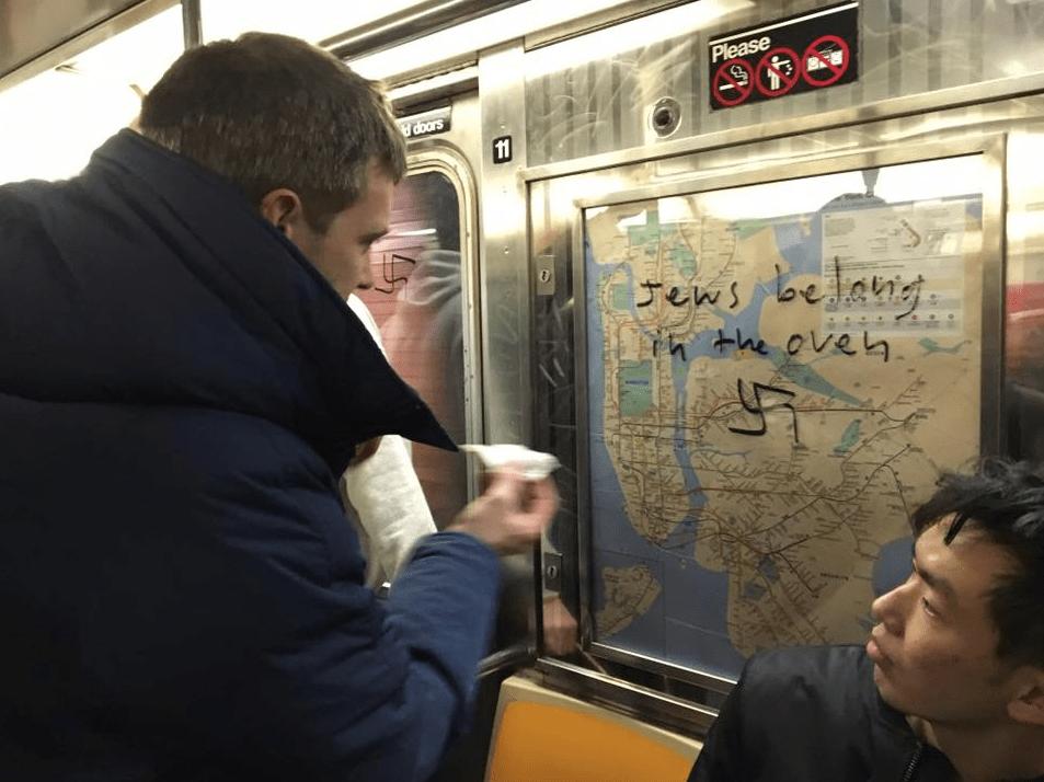 Esvásticas nazi en metro de Nueva York