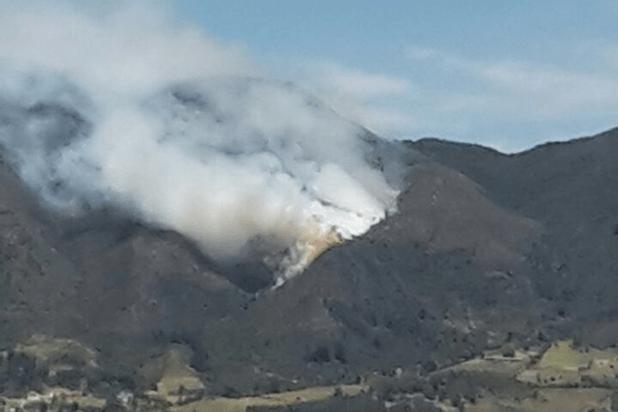 Incendio forestal en cerro Pan de Azúcar