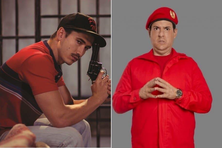 Los actores Juan Pablo Urrego y Andrés Parra, interpretando a 'Popeye' en 'Alias JJ' (Caracol) y a Hugo Chávez en 'El comandante' (RCN), respectivamente.