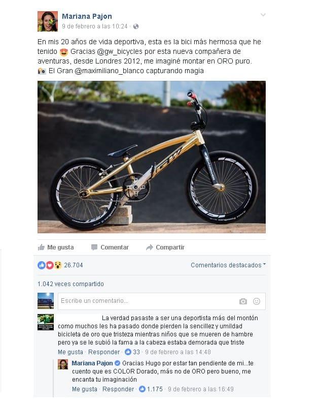 Facebook Mariana Pajón