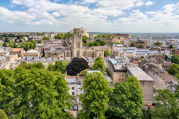 Bristol University seen from the Cabot Tower (EDITORS NOTE: