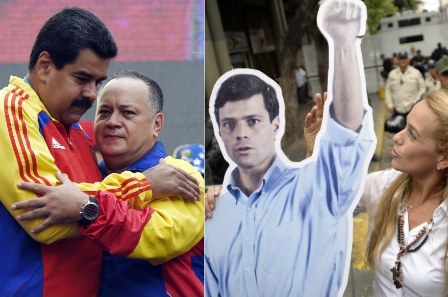 Nicolás Maduro, presidente de Venezuela; Diosdado Cabello, diputado chavista de la Asamblea Nacional; y Leopoldo López, líder opositor, junto a su esposa, Lilian Tintori.