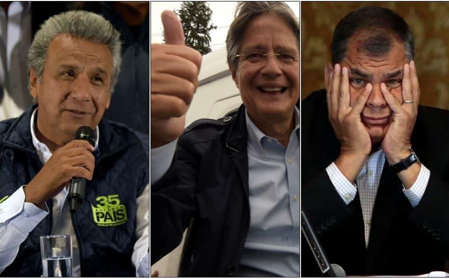 Lenín Moreno, Guillermo Lasso y Rafael Correa