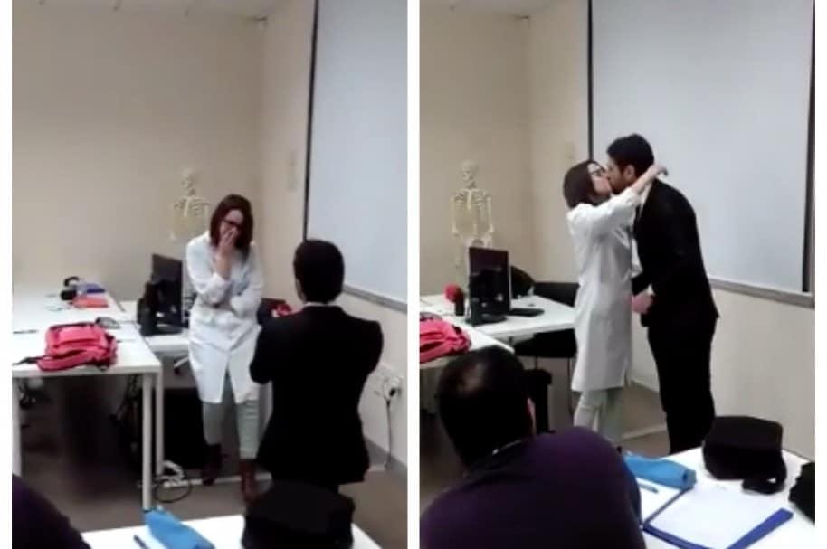 Propuesta de matrimonio a profesora en medio de clase. Pulzo.com