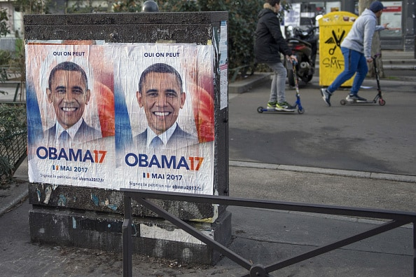 """""""Obama17"""" Posters Are Displayed Across Paris"""