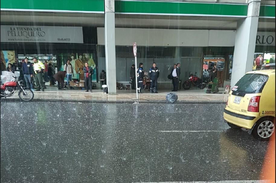 Granizada en el centro de Bogotá