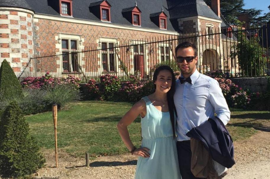 La bicicrosista Mariana Pajón junto a su futuro esposo, el bicicrosista francés Vincent Pelluard.