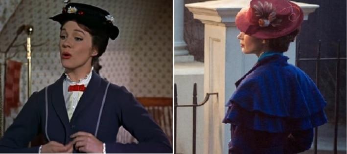 A la izquierda, la Mary Poppins de antes y a la derecha, la actriz Emily Blunt interpretando en la actualidad a esa famosa niñera.