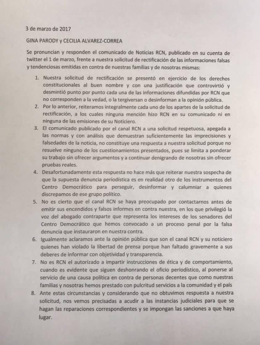 Pronunciamiento de las exministras Parody y Álvarez-Correa / Fuente: Twitter