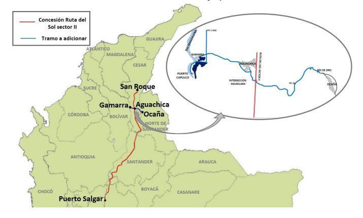 Mapa de la obra de mejoramiento vial
