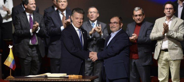 Juan Manuel Santos y Rodrigo Londoño Echeverry
