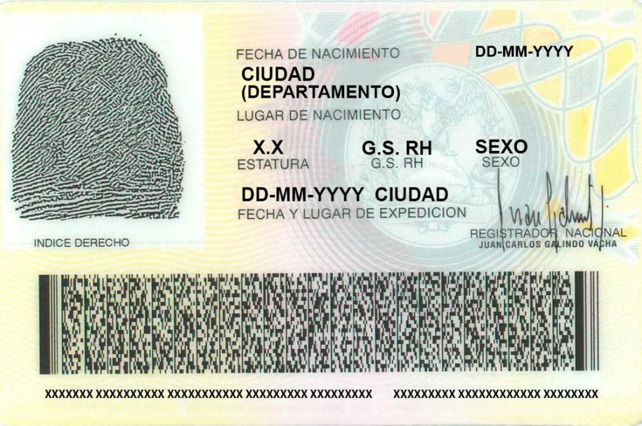 Parte posterior de una cédula de ciudadanía genérica