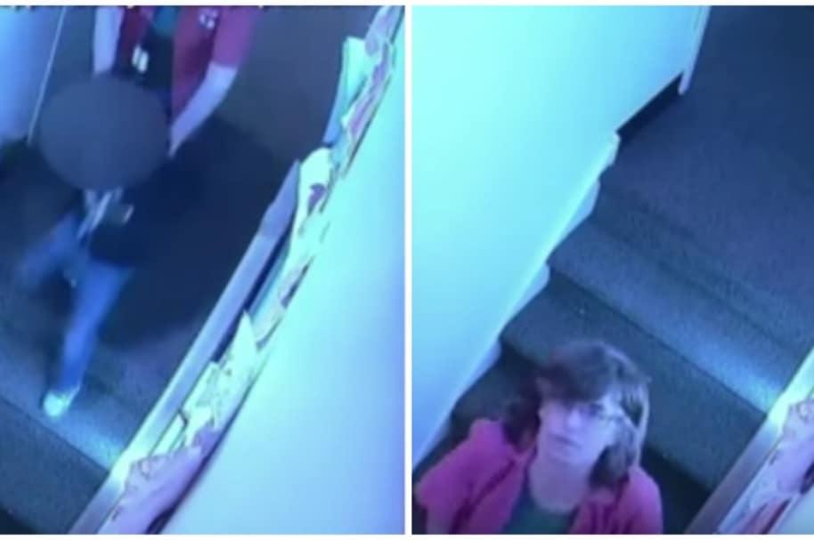Mujer empuja a niña por escaleras.