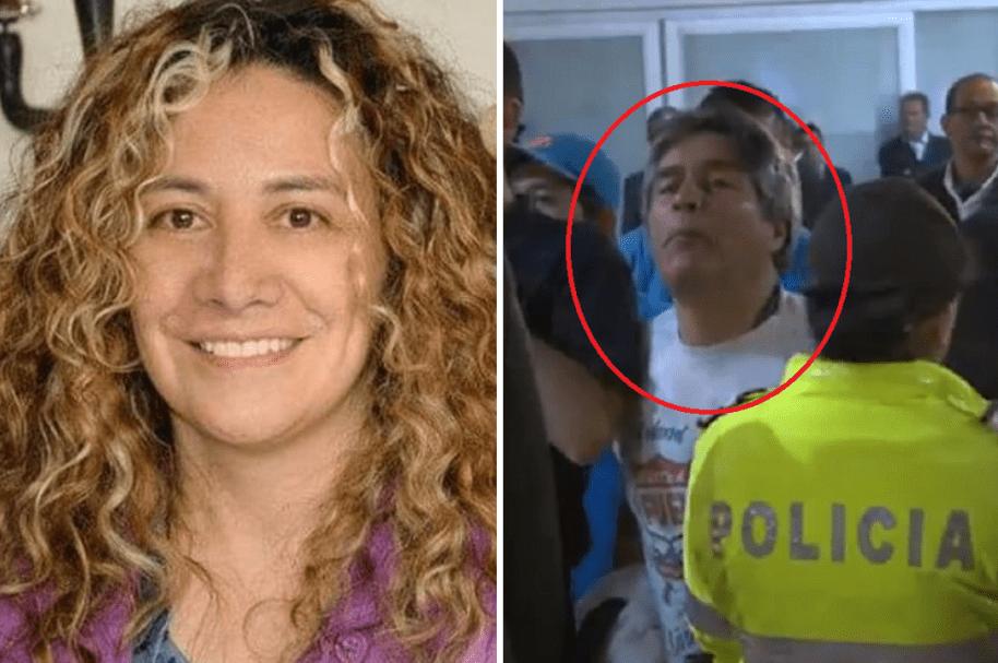 Lucía Bastidas, concejala de Bogotá, y el hombre señalado de escupirla e insultarla