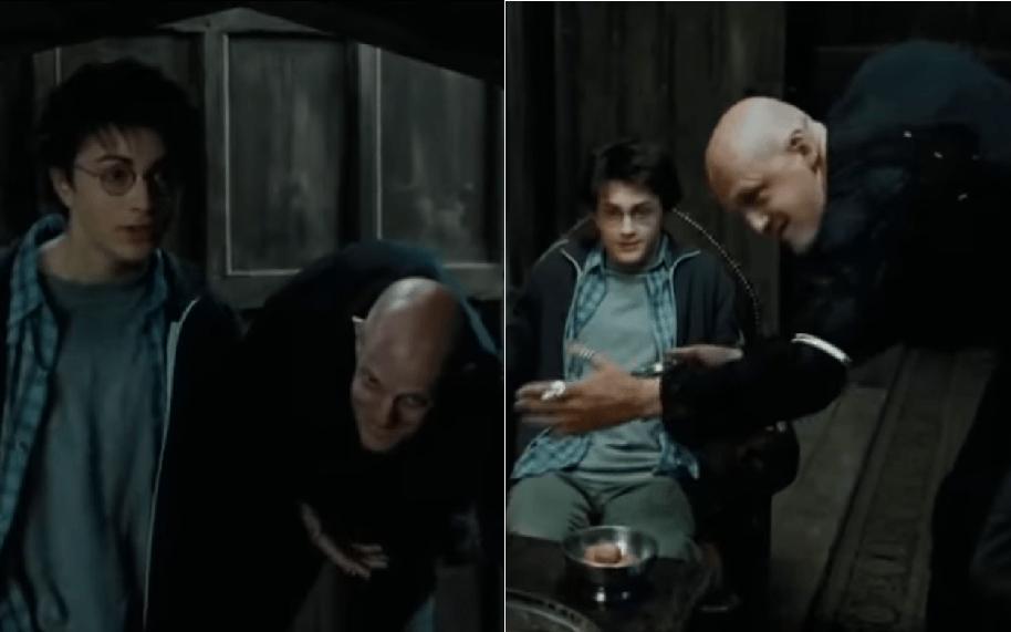 Daniel Radcliffe (Harry Potter) y Jim Tavaré (Tom), actuando en 'Harry Potter y el prisionero de Azkaban'
