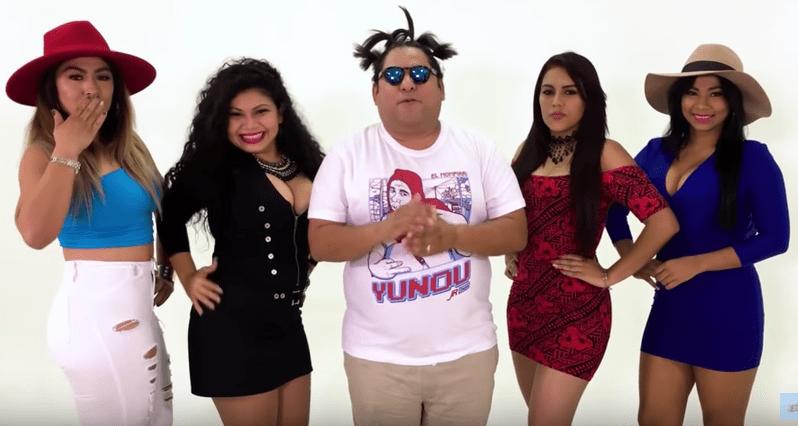 Youtuber 'Jr Inn' y modelos que parodiaron 'Cuatro babys'.