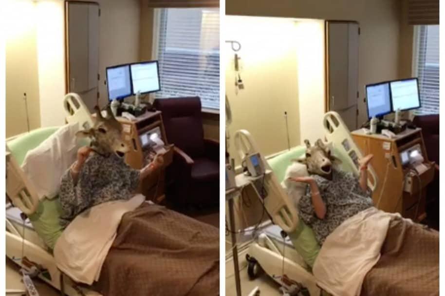 Mujer embarazada con máscara de jirafa. Pulzo.com