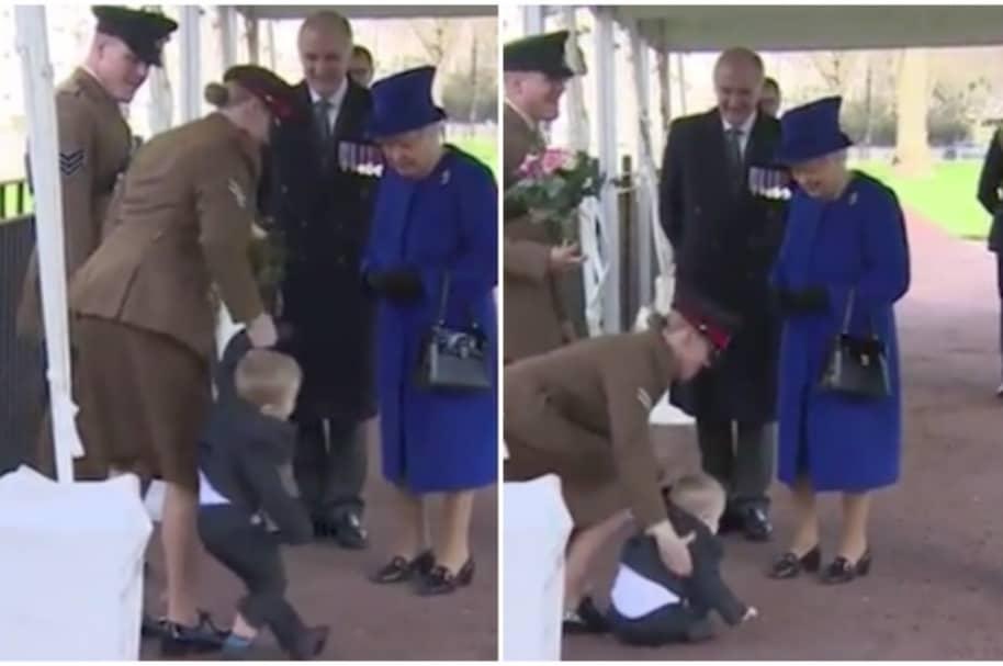 Pataleta de niño en frente de la reina Isabel.