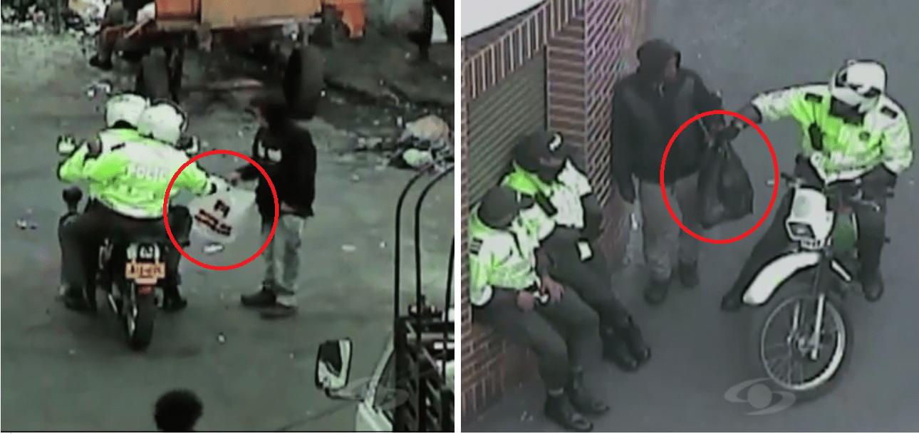 Policías recibiendo paquetes de 'Sayayines' del Bronx