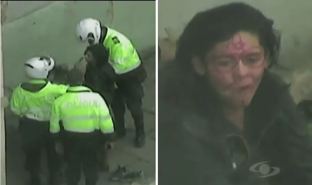 Uniformados le pintan la rostro a un habitante de calle