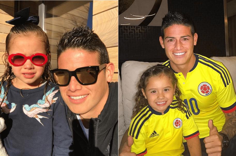 James Rodríguez, jugador del Real Madrid y la Selección Colombia, junto a su hija Salomé.