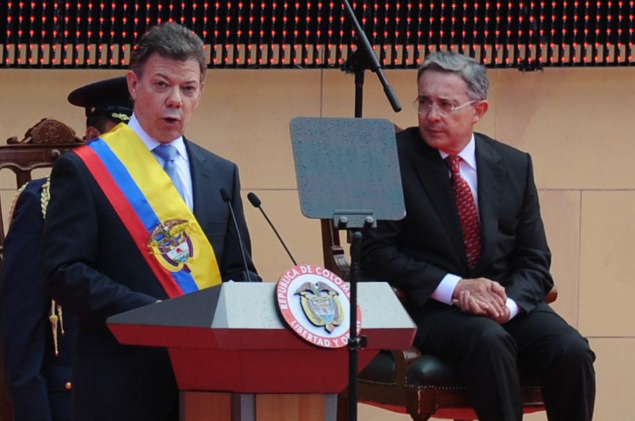 Juan Manuel Santos, durante su posesión en 2010