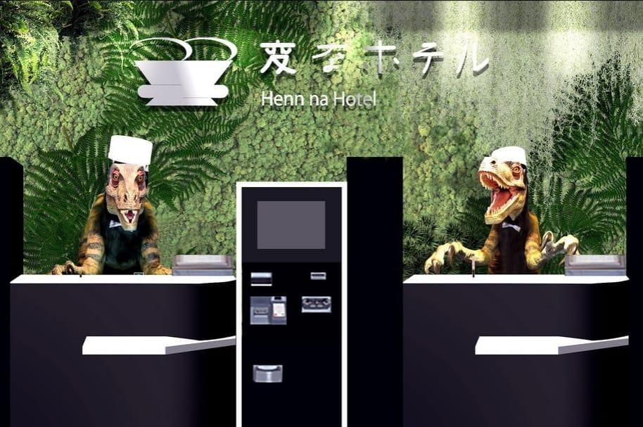 Dinosaurios autómatas recepcionistas