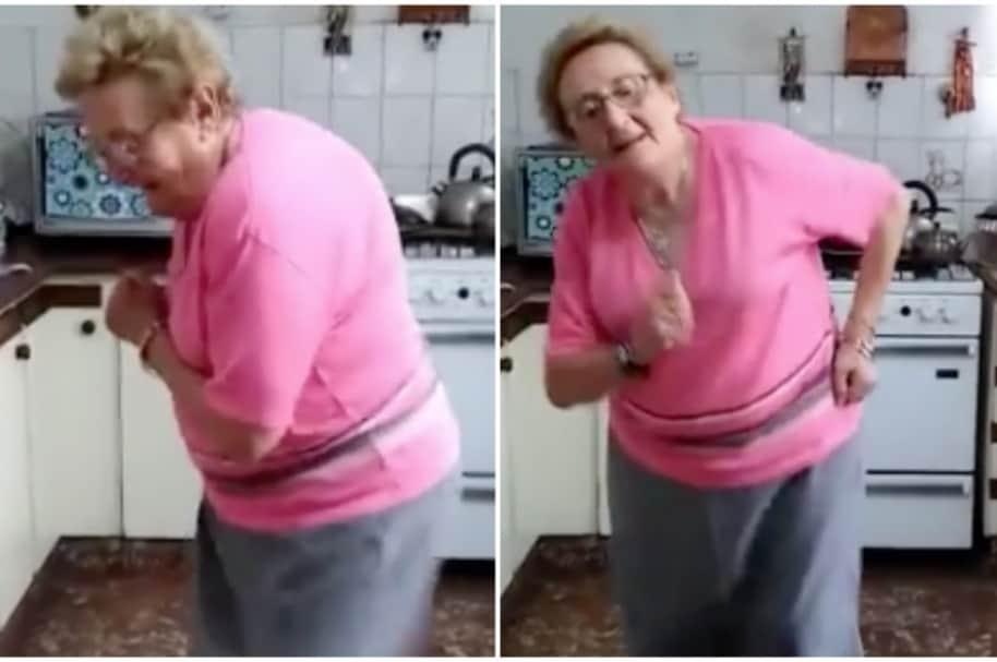 Abuela baila cumbia argentina.