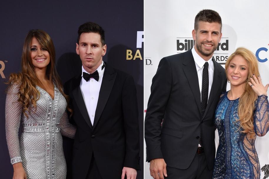 Lionel Messi y Gerard Piqué, Antonella Roccuzzo y  Shakira.