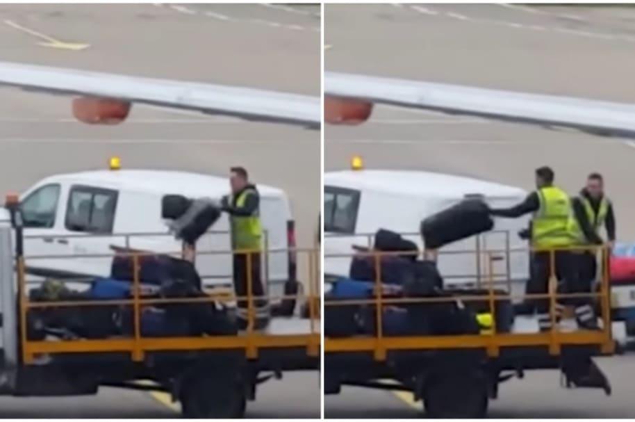 Empleados de aeropuerto cargan equipaje.