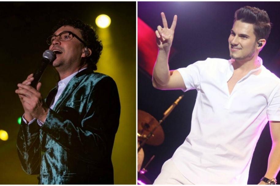 Andrés Cepeda y Pipe Bueno, cantantes colombianos.