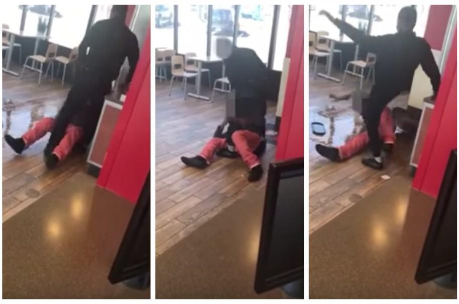 Empleado de Wendy's agrediendo a un cliente.