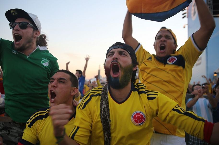 Celebración partido de Colombia