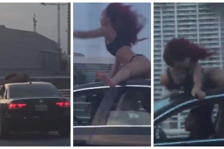 Mujer haciendo 'twerking' sobre techo de carro.