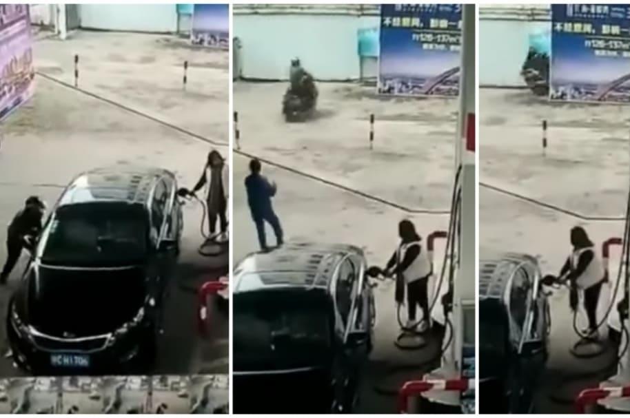Ladrón se estrella en su moto.