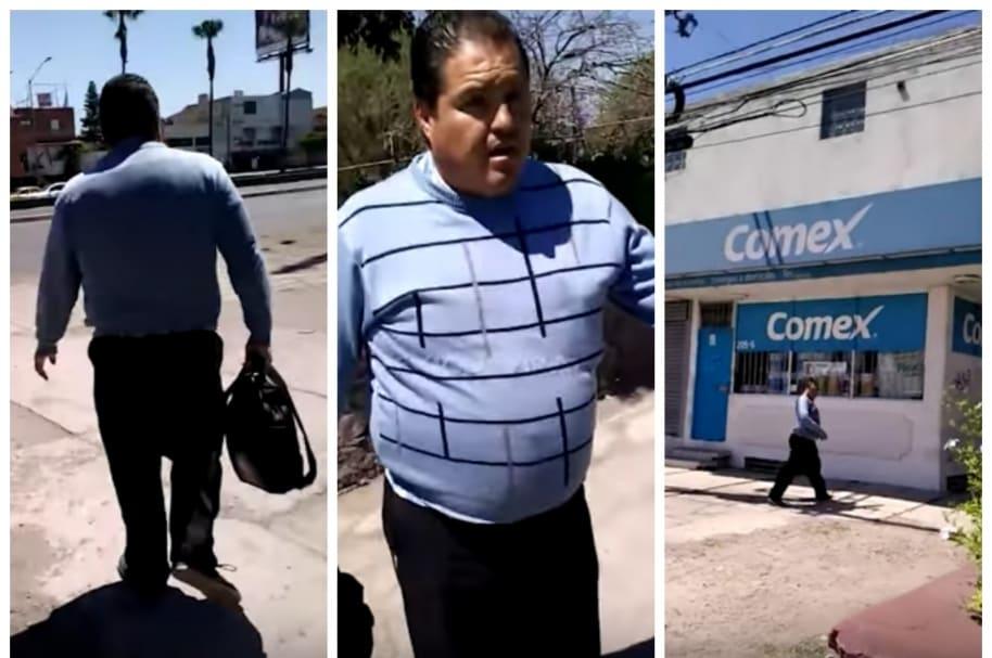 Hombre que le dio nalgada a una mujer en Querétaro, México.