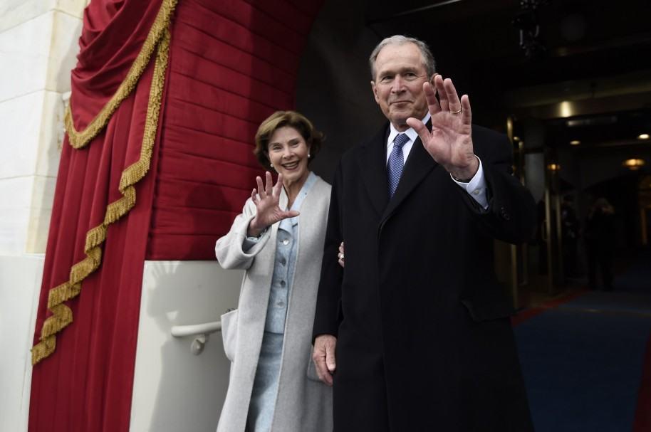 Laura y George W. Bush en la posesión de Trump
