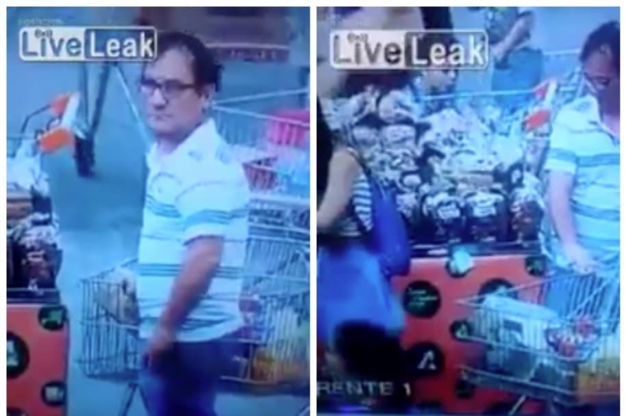 Pervertido que fue captado 'morboseando' a joven en supermercado de Brasil.
