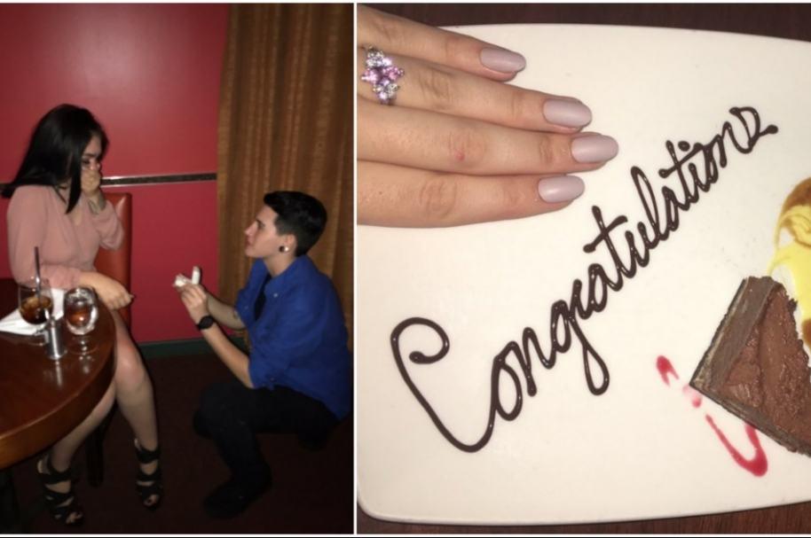 Fingen propuesta de matrimonio.