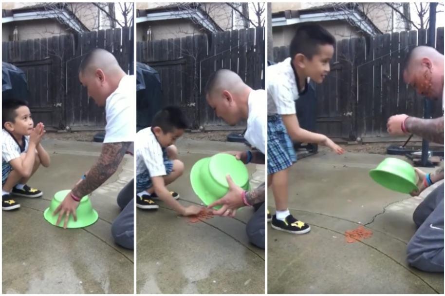 Niño le devuelve broma a su papá.