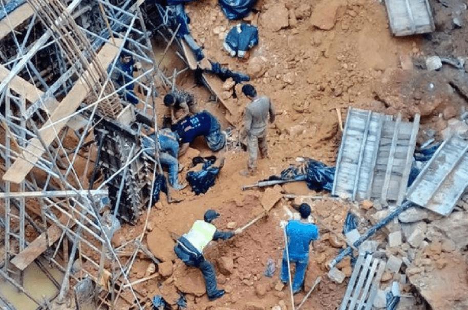 Derrumbe en obra de construcción en Bucaramanga