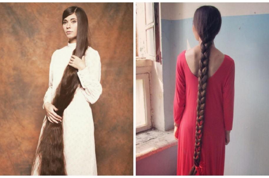 Mujer con el pelo más largo del mundo.