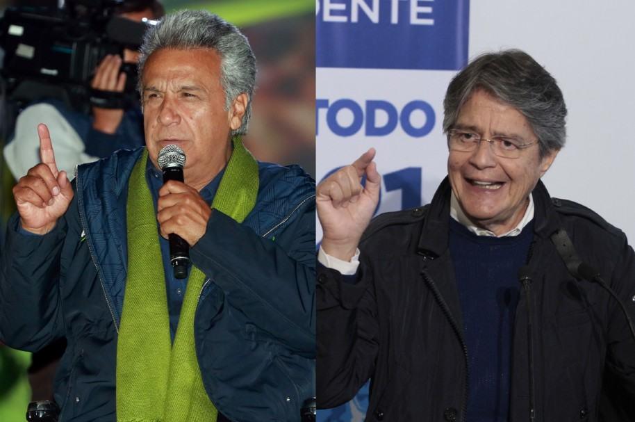 Lenín Moreno y Guillermo Lasso en sus campañas presidenciales en Ecuador