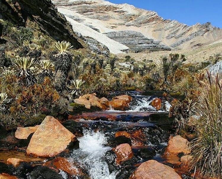 Nacimiento de agua en el nevado El Cocuy