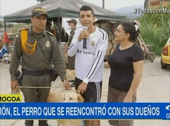Daniel Limas y su perro, Nerón, que fue rescatado por la Policía en Mocoa.