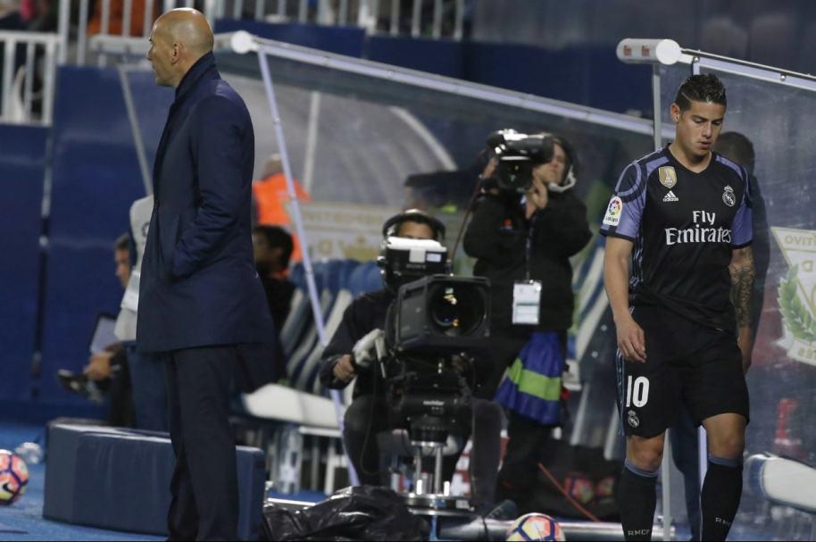 James, sustituido por Zidane