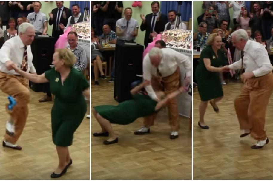 Abuelos bailan rock & roll.