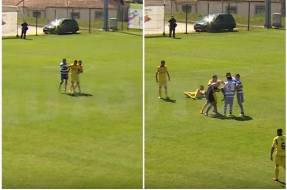 Futbolista de Canelas 2010 agrede al árbitro.