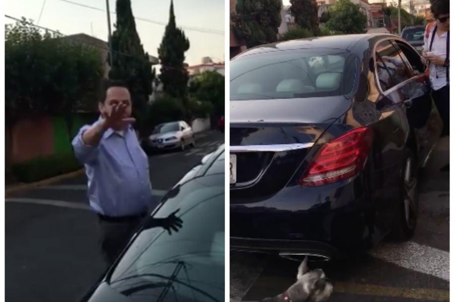 Conductor que pateó un perro en Ciudad de México.